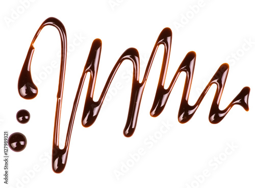 Abstract pattern made of chocolate isolated on white background