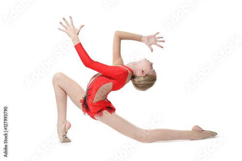 Tuinposter Gymnastiek Young girl doing gymnastics, isolated on white