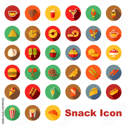 Fotografia, Obraz  Colorful Circle Snack and Fast Food Isolated Icon Symbol