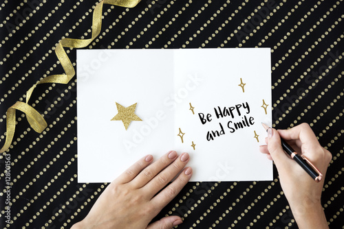 Celebration Card Writing Concept Canvas Print
