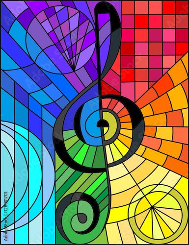 abstrakcjonistyczny-wizerunek-klucz-wiolinowy-w-witrazu-stylu-teczy-tle