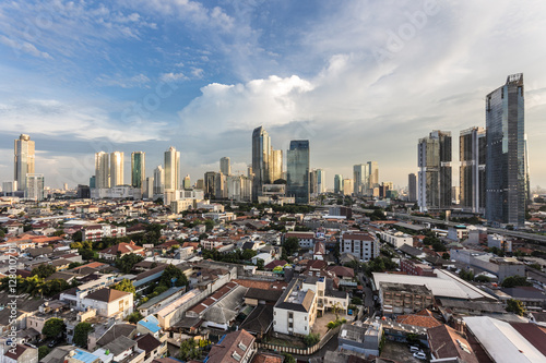 Sunset over Jakarta business district, Indonesia capital city