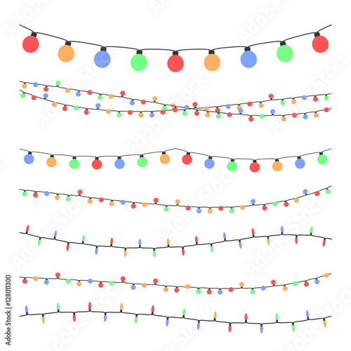 Stampa su Tela  Christmas holiday garland lights in flat style vector set