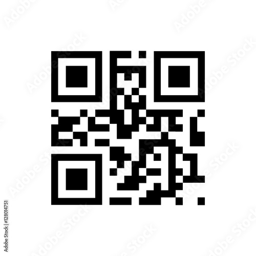 Valokuva  Vector QR code sample for smartphone scanning isolated on white background