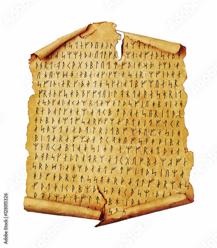 Photo Ancient scroll with the Scandinavian runes