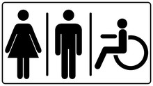 Vector Mens And Womens Disabled Restroom Signage Set - Men S, Boy S, Women S Printable Restroom, Toilette Signs