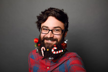 Male Geek Ready To Celebrate For New Years Or Christmas