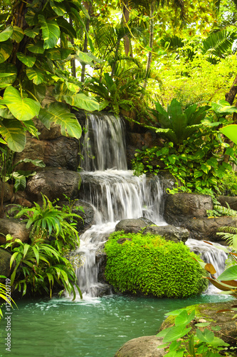 Waterfall in tropical garden
