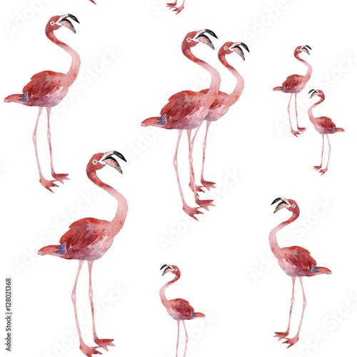 Canvas Prints Flamingo Bird Seamless pattern of flamingo on a white background, watercolor