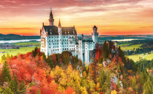 Beautiful View Of The Neuschwanstein Castle In Autumn Neuschwanstein Is A Palace In Bavaria, Germany. Today Neuschwanstein Is One Of The Most Popular Of All Palaces And Castles In Europe And World.