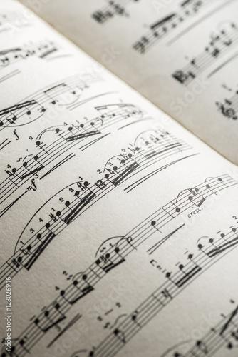Plakat Książka z notacjami muzycznymi. Strona z notatkami muzycznymi