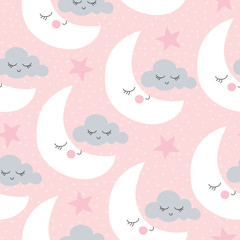Tapeta seamless moon and clouds pattern vector illustration