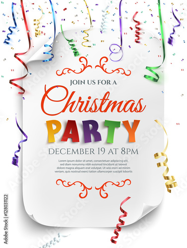 Obraz Christmas party poster template. - fototapety do salonu