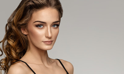 Portrait of beautiful woman face with natural make up