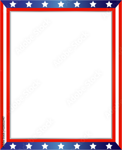 USA flag frame on white background with copy space for your text and ...