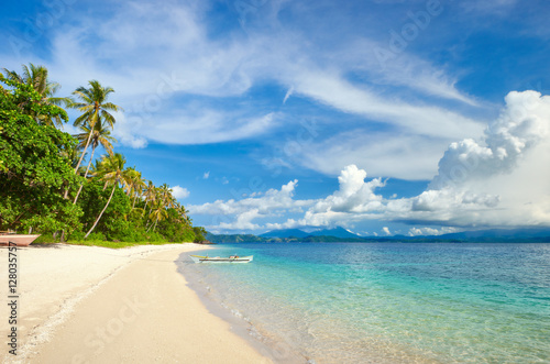 Deurstickers Tropical strand tropical beach with palm and turquoise sea
