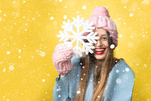 Happy Woman In Colorful Winter...