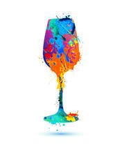 Wine Glass. Vector Splash Paint