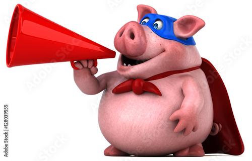 Fotobehang Boerderij Fun pig - 3D Illustration