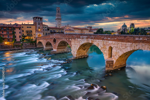 Poster Artistique Verona. Image of Verona, Italy during summer sunset.