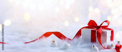 Christmas holidays composition on light background with copy spa Canvas Print