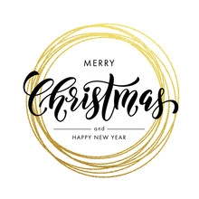 Happy New Year Merry Christmas Greeting Card Golden Glitter Decoration