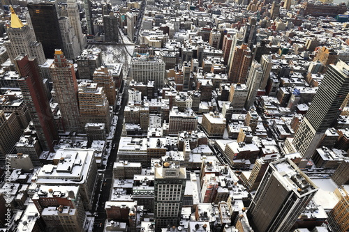 Roofs of New York under the snow