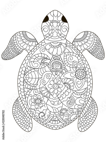 sea turtle coloring vector for adults Tableau sur Toile