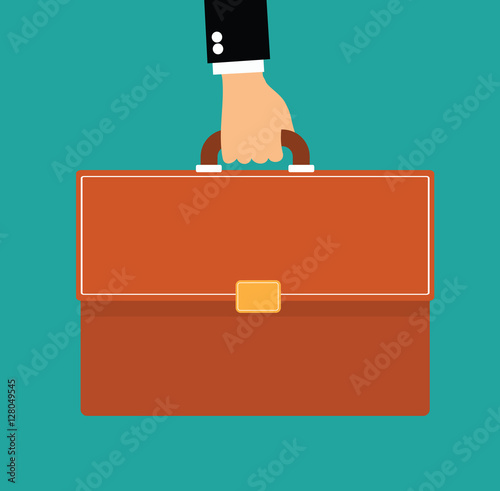 Photo hand holding briefcase - business man with briefcase flat vector illustration st