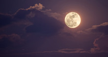 Night Sky With Full Moon And C...