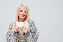Happy Smiling Woman Holding Christmas Card