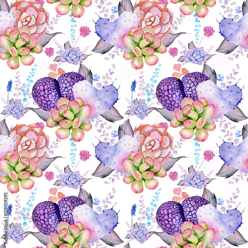 Cotton fabric Watercolor Boho Pattern. Seamless tribal texture with succulent, cactus,living stone and leaves. Wedding bouquet on white background