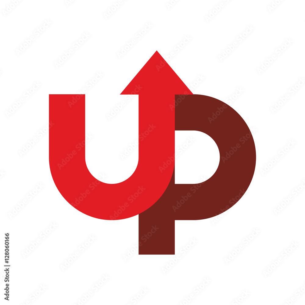 Fototapeta Start up logo. Up arrow emblem. starting business logotype