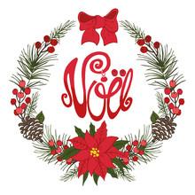 Christmas,noel Greeting Card.Flower, Fir,cone