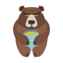 Bear And Honey Barrel. Cute Wild Animal And Food. Forest Predato