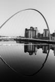 Gateshead Millennium Bridge and Baltic Centre in Black and White