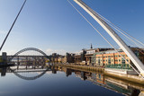 Newcastle Gateshead Quayside with Millenium and Tyne Bridges in