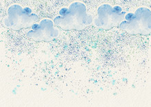 Watercolor Snow Background.