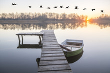 Beautiful Misty Morning On The Lake
