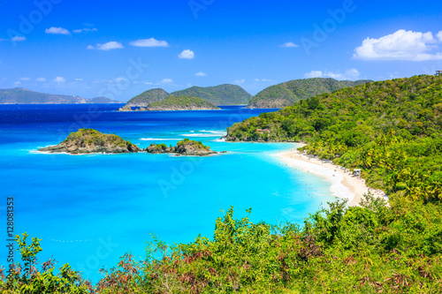 In de dag Caraïben Caribbean,Trunk Bay on St John island, US Virgin Islands