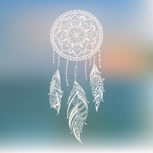 Dreamcatcher With Feathers. Vector Hand Drawn Illustration