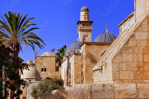 Fotografie, Obraz  Jerusalem - Blick auf den Tempelberg mit dem Es-Silsilah-Minarett