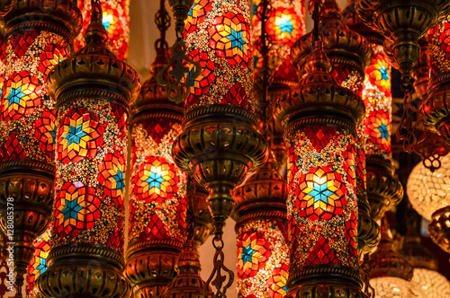 Turkish decorative lamps on Grand Bazaar at Istanbul