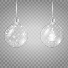 Template Of Glass Transparent Christmas Ball With Falling Snowflakes . Vector Illustration
