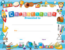 Certificate Template With School Items