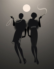 Two Elegant Flapper Girl Silhouettes Under The Moon