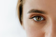 canvas print picture - Closeup Of Beautiful Girl Eye And Eyebrow With Natural Makeup