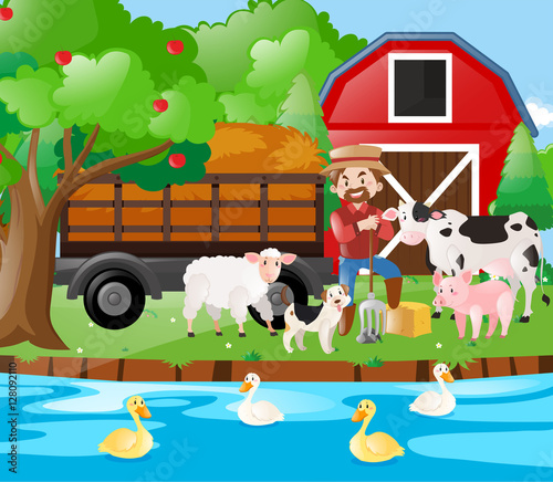 Farm scene famer and farm animals by the river