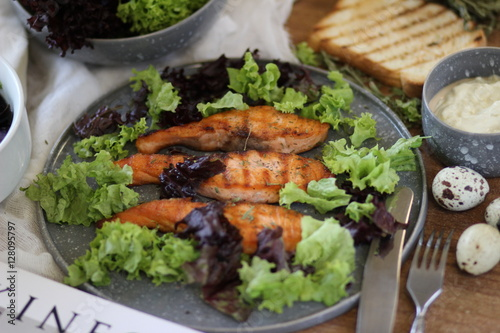 Salad with red fish