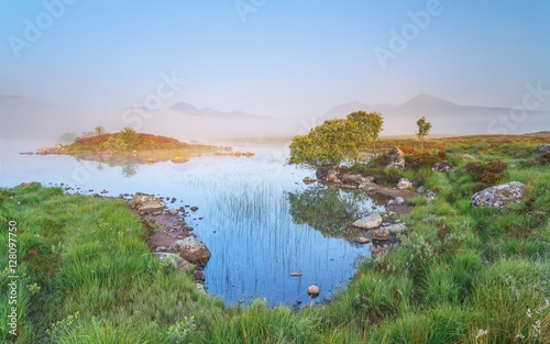 Morning light at Loch Na Claise, Rannoch Moor, Highlands, Scotland, united kingdom